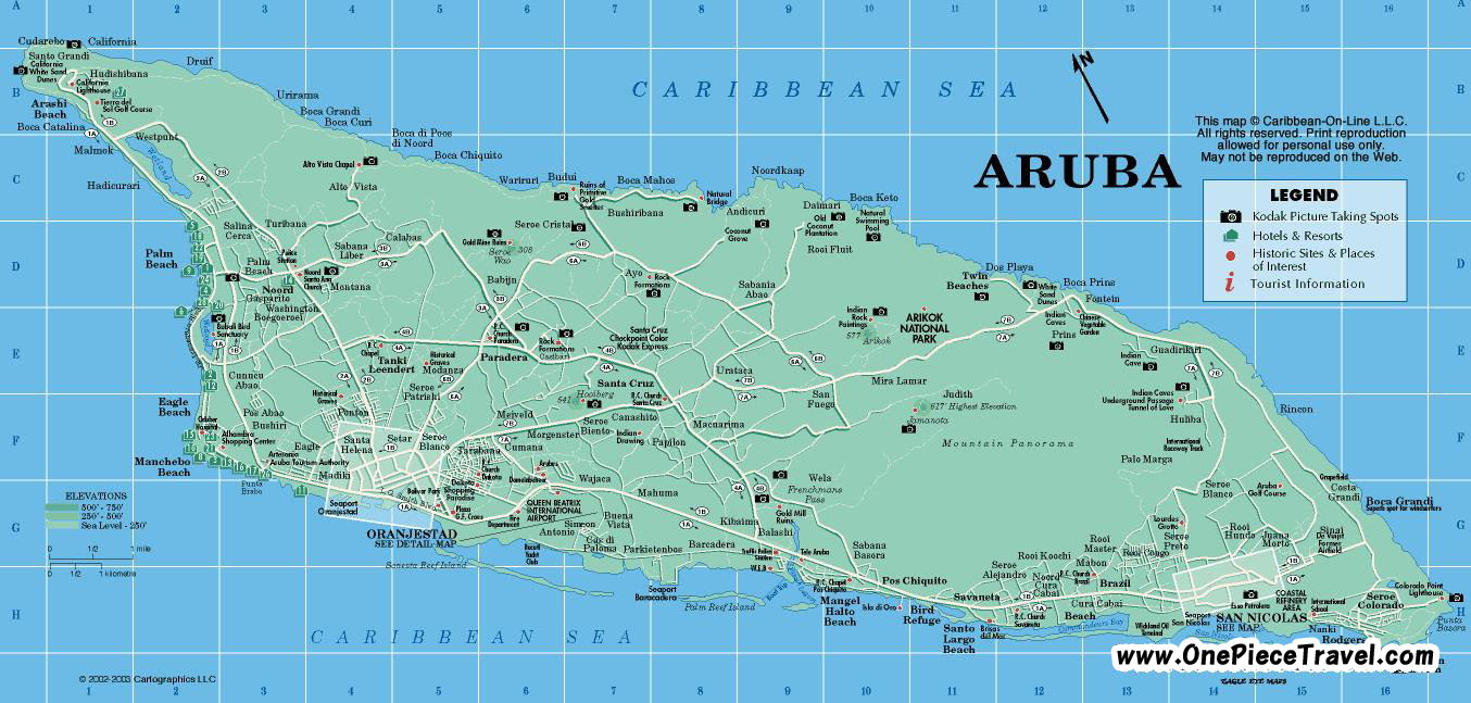 {Aruba Tourist Attractions and Travel – Aruba Tourist Attractions Map