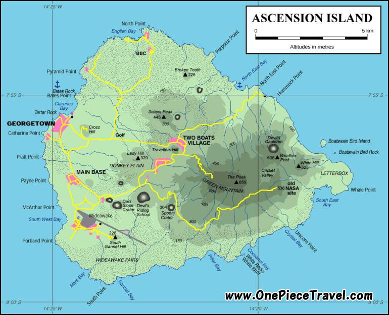 Ascension, Ascension travel, Ascension attractions, Ascension tourism, St Helena map