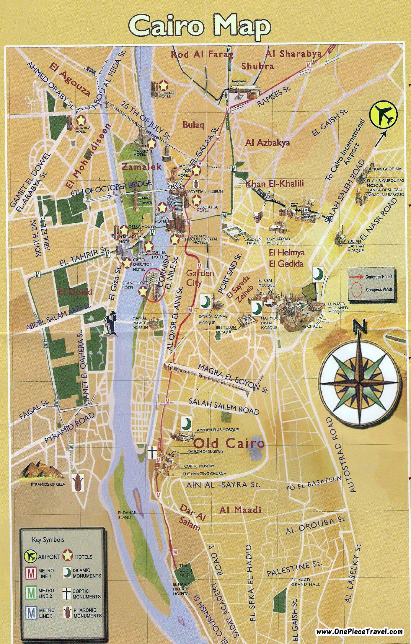 Cairo Sightseeing Map – Tourist Attractions Map In Egypt