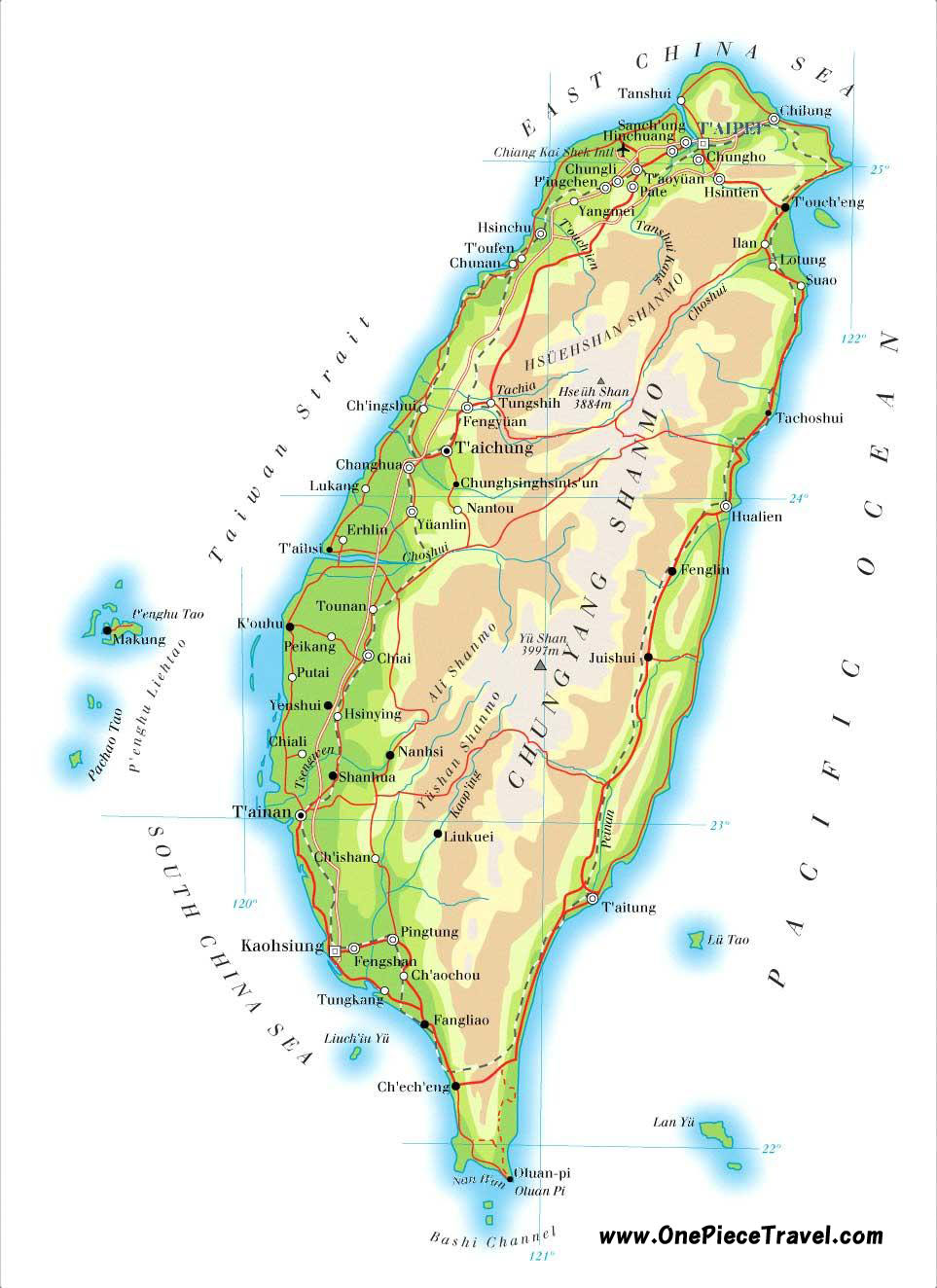 Taiwan Tourist Attractions and Travel – Tourist Attractions Map In China