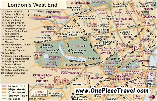 West End of London Tourist Attractions and Travel – Tourist Attractions In London Map